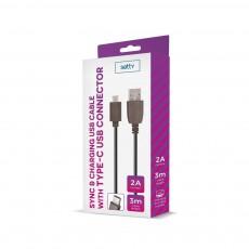 USB Kaabel Type-C Fast Charge 2A 3m Setty
